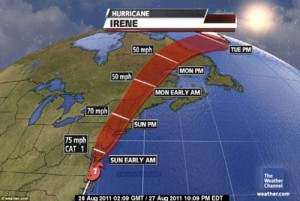 Weather Channel's visual depiction of Hurricane Irene's path