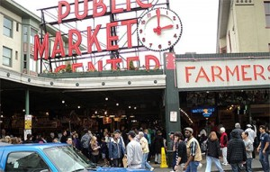 Public Market Center sign at Pike Place Market in downtown Seattle